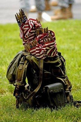 Arlington flag in rucksack